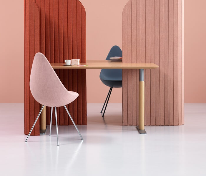pink and red office partitions