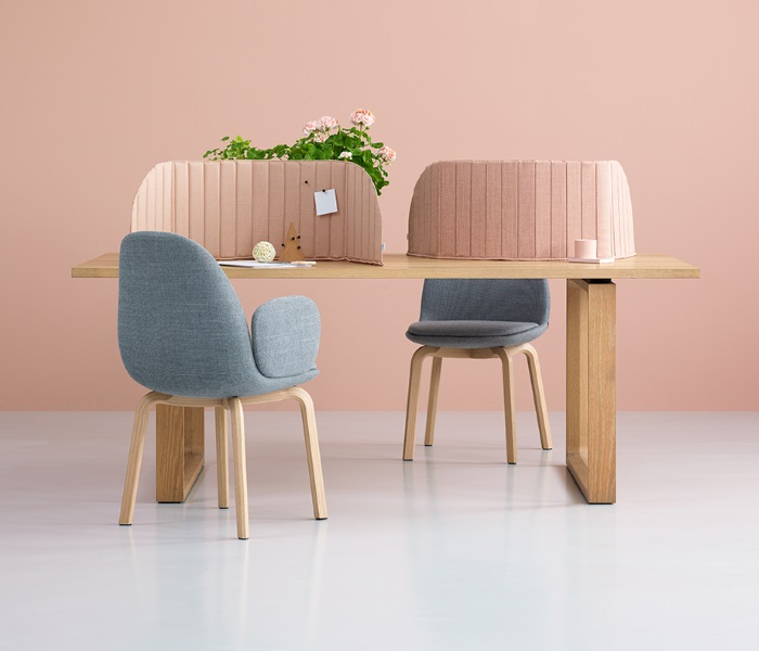 pink partitions with blue chairs